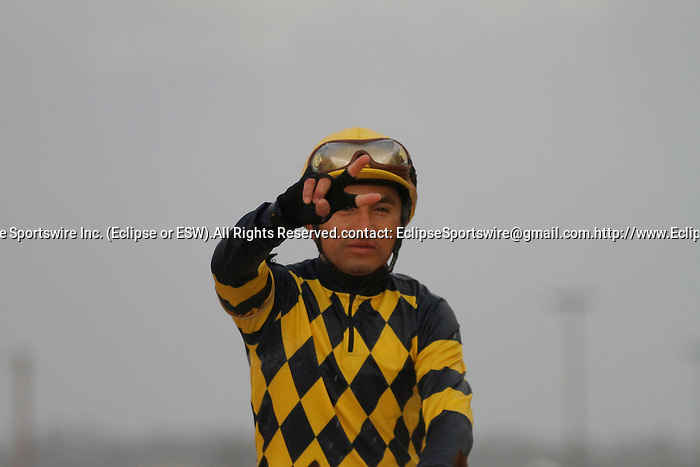 """Rafael Bejarano showing his trademark deuces after winning aboard """"Super Ninety Nine"""" in the winners circle after winning the 48th Running of the Southwest Stakes. Feb.18, 2013 - Hot Springs, Arkansas, U.S - (Credit Image: © Justin Manning/Eclipse/ZUMAPRESS.com)The 48th Running of the Southwest Stakes. Feb.18, 2013 - Hot Springs, Arkansas, U.S - (Credit Image: © Justin Manning/Eclipse/ZUMAPRESS.com)"""