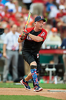 Wounded Warrior Todd Reed bats during the All-Star Legends and Celebrity Softball Game on July 12, 2015 at Great American Ball Park in Cincinnati, Ohio.  (Mike Janes/Four Seam Images)