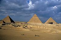 View of The Khephren Pyramid, The Mycerinus Pyramid and The Great Pyramid at Giza, Cairo, Egypt.