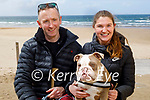 Taking Gus for a walk in Ballybunion on Saturday are Pierce O'Leahy and Orla Hannon.