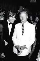 Montreal (QC) Canada- - August 2, 1984 File Photo - Premiere of LOUISIANE, Denis Heroux, Producer (L), Pierre Trudeau (R) Prime Miinister, Canada