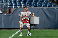 FOXBOROUGH, MA - AUGUST 21: Ian Antley #2 of Richmond Kickers controls the ball during a game between Richmond Kickers and New England Revolution II at Gillette Stadium on August 21, 2020 in Foxborough, Massachusetts.