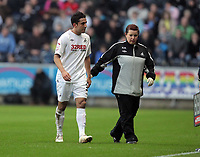 ATTENTION SPORTS PICTURE DESK<br /> Pictured: Injured Neil Taylor of Swansea (L) leaves the field with team physiotherapist.<br /> Re: npower Championship, Swansea City FC v Reading at the Liberty Stadium, south Wales. Saturday 01 January 2011