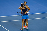 Jing-Jing Lu and Shuai Zhang of China celebrates winning the doubles Round Robin match of the WTA Elite Trophy Zhuhai 2017 against  Xinyu Jiang and Qianhui Tang of China at Hengqin Tennis Center on November  04, 2017 in Zhuhai, China. Photo by Yu Chun Christopher Wong / Power Sport Images