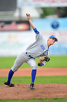 Hornell Dodgers pitcher Zach Melino #8 (Monroe Community College) during a NYCBL game against the Niagara Power on June 10, 2013 at Dwyer Stadium in Batavia, New York.  Niagara defeated Hornell 16-1.  (Mike Janes/Four Seam Images)