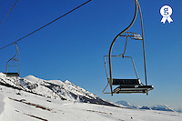 Ski lift and snowy mountains in the French Alps, Saint-Jean de Montclar, France (Licence this image exclusively with Getty: http://www.gettyimages.com/detail/82064696 )