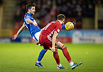 Aberdeen v St Johnstone…..05.02.20   Pittodrie   SPFL<br />Callum Booth and Ryan Hedges<br />Picture by Graeme Hart.<br />Copyright Perthshire Picture Agency<br />Tel: 01738 623350  Mobile: 07990 594431