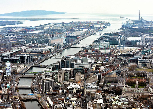 An aerial view of Dublin city and its port