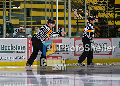 9 February 2020: NCAA Division 1 Referee Thomas Quinn indicates a confirmed UVM Catamount goal after off-ice review in the second period during play against the University of Connecticut Huskies at Gutterson Fieldhouse in Burlington, Vermont. The Lady Cats defeated the Huskies 6-2 in the second game of their weekend Hockey East series. Mandatory Credit: Ed Wolfstein Photo *** RAW (NEF) Image File Available ***