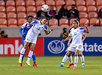 HOUSTON, TX - JANUARY 31: Gabriela Guillen #2 of Costa Rica heads the ball during a game between Haiti and Costa Rica at BBVA Stadium on January 31, 2020 in Houston, Texas.