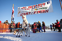 Jeremiah Klejka dogs at the start line of the Junior Iditarod  at Knik Lake, Knik, Alaska
