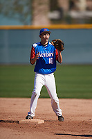 Isaac Luevano (10) of South Pasadena High School in South Pasadena, California during the Baseball Factory All-America Pre-Season Tournament, powered by Under Armour, on January 13, 2018 at Sloan Park Complex in Mesa, Arizona.  (Mike Janes/Four Seam Images)