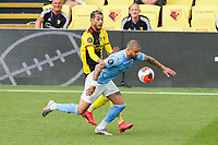 Roberto Pereyra of Watford and Kyle Walker of Man City during the Premier League match between Watford and Manchester City at Vicarage Road, Watford, England on 21 July 2020. Football Stadiums around remain empty due to the Covid-19 Pandemic as Government social distancing laws prohibit supporters inside venues resulting in all fixtures being played behind closed doors until further notice.<br /> Photo by Andy Rowland.