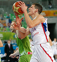 """Nemanja NEdovic of Serbia in action during European basketball championship """"Eurobasket 2013"""" classification basketball game from 5th to 8th place between Serbia and Slovenia in Stozice Arena in Ljubljana, Slovenia, on September 19. 2013. (credit: Pedja Milosavljevic  / thepedja@gmail.com / +381641260959)"""