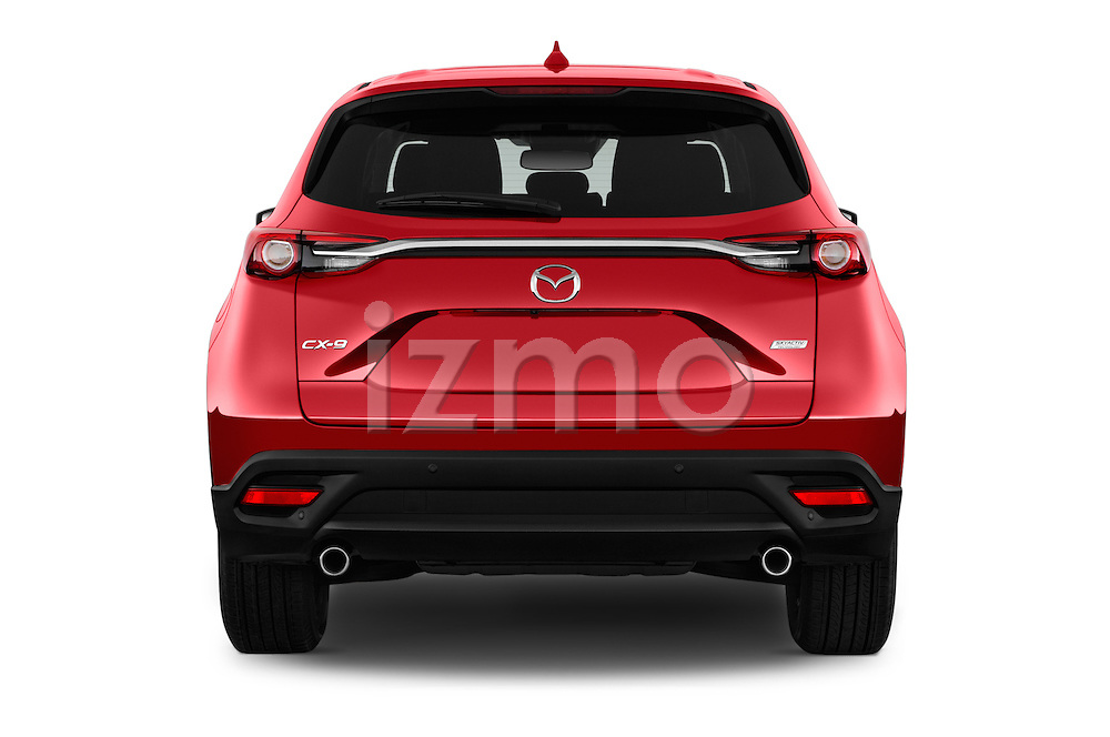 Straight rear view of 2018 Mazda CX-9 Touring-FWD 5 Door SUV Rear View  stock images