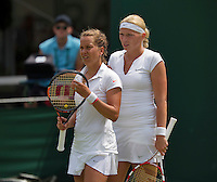 England, London, June 30, 2015, Tennis, Wimbledon, Womans dubbles: Michaëlla Krajicek (NED) (R) and her partner Barbora Strycova (CZE)<br /> Photo: Tennisimages/Henk Koster