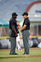 Umpires James Jean (left) and Jordan Sandberg (right) discuss a foul ball, or hit by pitch, call during a game between the State College Spikes and Batavia Muckdogs on July 7, 2018 at Dwyer Stadium in Batavia, New York.  State College defeated Batavia 7-4  (Mike Janes/Four Seam Images)