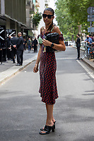 Milan,Italy - 19th june 2021 - Dolce & Gabbana fashion show for Milano fashion week Men's collection 18-22 june 2021 - girl posing in the street outside the show