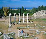 Greece, Dodecanese, Kos Island, near Kos-Town: Ruins of Asclepion | Griechenland, Dodekanes, Insel Kos, bei Kos-Stadt: das Asklepieion von Kos, archaeologische Staette, das antike Heiligtum des Asklepios (Asklepieion)