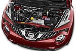 Car Stock 2015 Nissan JUKE TEKNA 5 Door SUV 2WD Engine high angle detail view