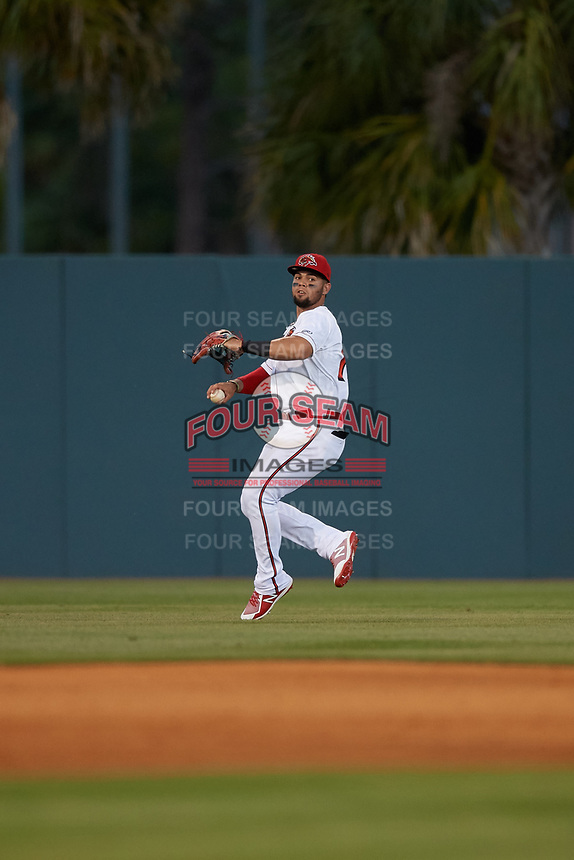 Florida Fire Frogs left fielder Jefrey Ramos (15) during a Florida State League game against the Jupiter Hammerheads on April 8, 2019 at Osceola County Stadium in Kissimmee, Florida.  Florida defeated Jupiter 7-6 in ten innings.  (Mike Janes/Four Seam Images)