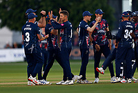 Joe Denly (C) of Kent is congratulated after taking the wicket of Stephen Eskinazi during Kent Spitfires vs Middlesex, Vitality Blast T20 Cricket at The Spitfire Ground on 11th June 2021