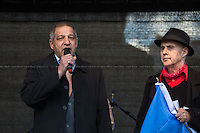"""(From L to R) Ladislav Balaz (Chair Europe-Roma) & Grattan Puxon (Member of the Roma community and the 8th April Movement).<br /> <br /> London, 22/03/2014. """"Stand Up To Racism & fascism - No to Scapegoating Immigrants, No to Islamophobia, Yes to Diversity"""", national demo marking UN Anti-Racism Day organised by TUC (Trade Union Congress) and UAF (Unite Against Fascism).<br /> <br /> For more information please click here: http://www.standuptoracism.org.uk/"""