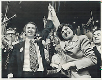 1976 FILE PHOTO - ARCHIVES -<br /> <br /> The winner: Joe Clark and his wife; Maureen McTeer; celebrate victory at 1976 Conservative convention; where he was elected leader. To Many Tories; he hasn't looked so good since; but the president of the Quebec PC association believes most of that province's delegates support him.<br /> <br /> PHOTO : Reg INNELL - Toronto Star Archives - AQP