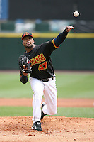 April 30th 2008:  Francisco Liriano (47) of the Rochester Red Wings, Class-AAA affiliate of the Minnesota Twins, delivers a pitch at Frontier Field  in Rochester, NY.  Photo by Mike Janes/Four Seam Images