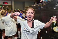 Houston, TX - Sunday Oct. 09, 2016: McCall Zerboni celebrates after a National Women's Soccer League (NWSL) Championship match between the Washington Spirit and the Western New York Flash at BBVA Compass Stadium. The Western New York Flash win 3-2 on penalty kicks after playing to a 2-2 tie.