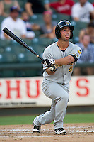 Salt Lake Bees outfielder Drew Heid (4) follows through on his swing during the Pacific Coast League baseball game against the Round Rock Express on August 10, 2013 at the Dell Diamond in Round Rock, Texas. Round Rock defeated Salt Lake 9-6. (Andrew Woolley/Four Seam Images)