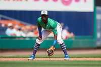 Hartford Yard Goats third baseman Mylz Jones (30) during a game against the Trenton Thunder on August 26, 2018 at Dunkin' Donuts Park in Hartford, Connecticut.  Trenton defeated Hartford 8-3.  (Mike Janes/Four Seam Images)
