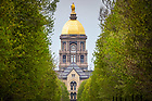 May 2, 2020; Main Building framed by Notre Dame Avenue trees (Photo by Matt Cashore/University of Notre Dame)