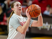 COLLEGE PARK, MD - FEBRUARY 9: Taylor Mikesell #11 of Maryland warms up during a game between Rutgers and Maryland at Xfinity Center on February 9, 2020 in College Park, Maryland.
