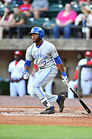 Bluefield Blue Jays left fielder D.J. Daniels (6) swings at a pitch during a game against the Greeneville Reds at Pioneer Park on June 30, 2018 in Greeneville, Tennessee. The Blue Jays defeated the Red 7-3. (Tony Farlow/Four Seam Images)