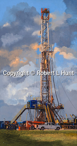 A drilling rig in operation in East Texas.