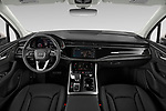 Stock photo of straight dashboard view of 2020 Audi Q7 Advanced 5 Door SUV Dashboard