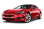 Stock pictures of low aggressive front three quarter view of a 2017 Tesla Model S 100D 5 Door Hatchback
