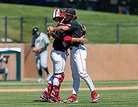 STANFORD, CA - JUNE 4: Kody Huff, Brandt Pancer during a game between North Dakota State and Stanford Baseball at Sunken Diamond on June 4, 2021 in Stanford, California.