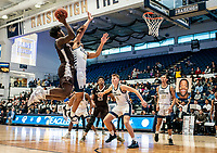 WASHINGTON, DC - JANUARY 5: Alejandro Vasquez #11 of St. Bonaventure gets a shot over Jameer Nelson Jr. #12 of George Washington during a game between St. Bonaventure University and George Washington University at Charles E Smith Center on January 5, 2020 in Washington, DC.