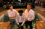 Adult being baptised in Kensington temple, Notting Hill London 1990s. UK