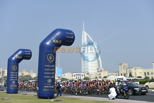 Km0 the start of Stage 3 The Silicon Oasis Stage of the Dubai Tour 2018 the Dubai Tour's 5th edition, running 180km from Skydive Dubai to Fujairah, Dubai, United Arab Emirates. 7th February 2018.<br /> Picture: LaPresse/Fabio Ferrari   Cyclefile<br /> <br /> <br /> All photos usage must carry mandatory copyright credit (© Cyclefile   LaPresse/Fabio Ferrari)