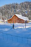 Idaho, Dalton Gardens, Coeur d' Alene. A vintage barn in a snow covered landscape.