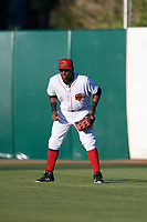 Florida Fire Frogs right fielder Ronald Acuna (27) during a game against the Daytona Tortugas on April 6, 2017 at Osceola County Stadium in Kissimmee, Florida.  Daytona defeated Florida 3-1.  (Mike Janes/Four Seam Images)