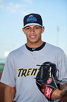 Trenton Thunder pitcher Jonathan Loaisiga (32) poses for a photo before a game against the Richmond Flying Squirrels on May 11, 2018 at The Diamond in Richmond, Virginia.  Richmond defeated Trenton 6-1.  (Mike Janes/Four Seam Images)
