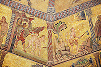 The Medieval mosaics of the ceiling of The Baptistry of Florence Duomo ( Battistero di San Giovanni ) showing the Adan & Eve being expelled from the Garden of Eden by the Archangel Gabriel (left) and starting to work on barren rocky land ,  started in 1225 by Venetian craftsmen in a Byzantine style and completed in the 14th century. Florence Italy