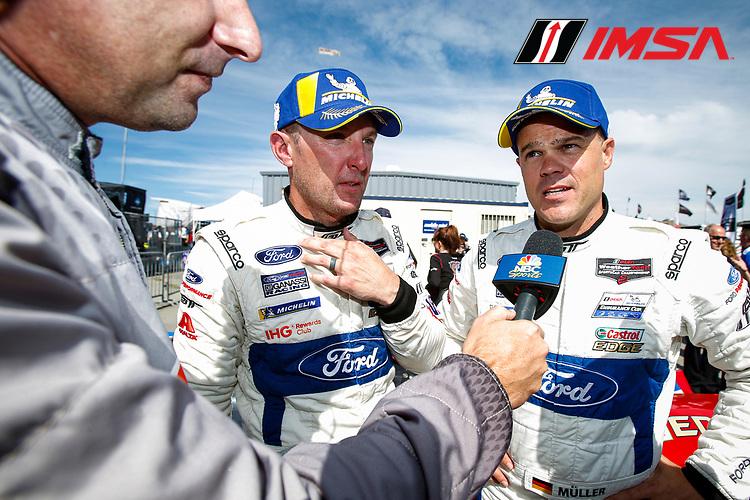 #66 Ford Chip Ganassi Racing Ford GT, GTLM: Joey Hand, Dirk Mueller, Celebrating GTLM Victory, Michelin