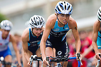 17 SEP 2011 - LA BAULE, FRA - Felicity Abram (TCG 79 Parthenay) begins her third bike lap during the final round of the women's French Grand Prix Series at the Triathlon Audencia in La Baule, France (PHOTO (C) NIGEL FARROW)