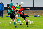 Tralee Dynamos Ryan O'Driscoll tries to control the ball mid air as Fenit Samphires Cian McKenna bear down on him during their encounter in the U14 cup competition.