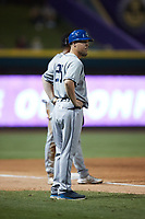 Asheville Tourists manager Nate Shaver (25) coaches third base during the game against the Winston-Salem Dash at Truist Stadium on September 17, 2021 in Winston-Salem, North Carolina. (Brian Westerholt/Four Seam Images)